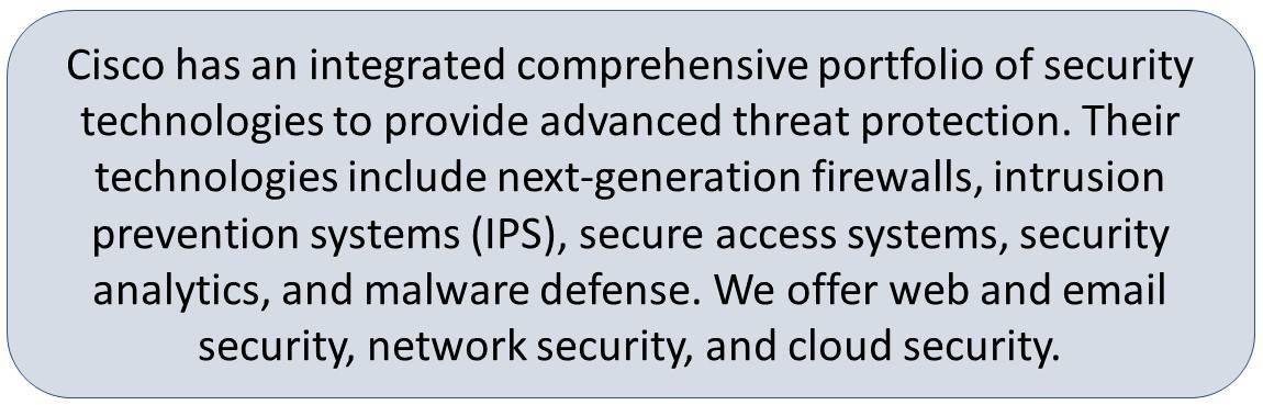 Cisco Advanced Malware Protection, Cisco Firepower NGFW, Cisco Firepower NGIPS, and Cisco Cloud Security