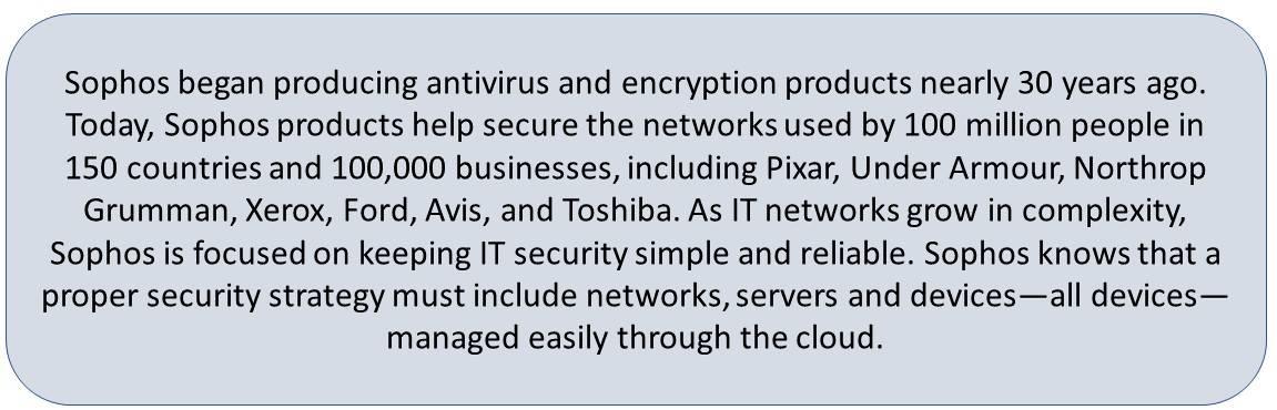 Sophos Intercept X, Invincea, Sophos Mobile Security, Sophos XG