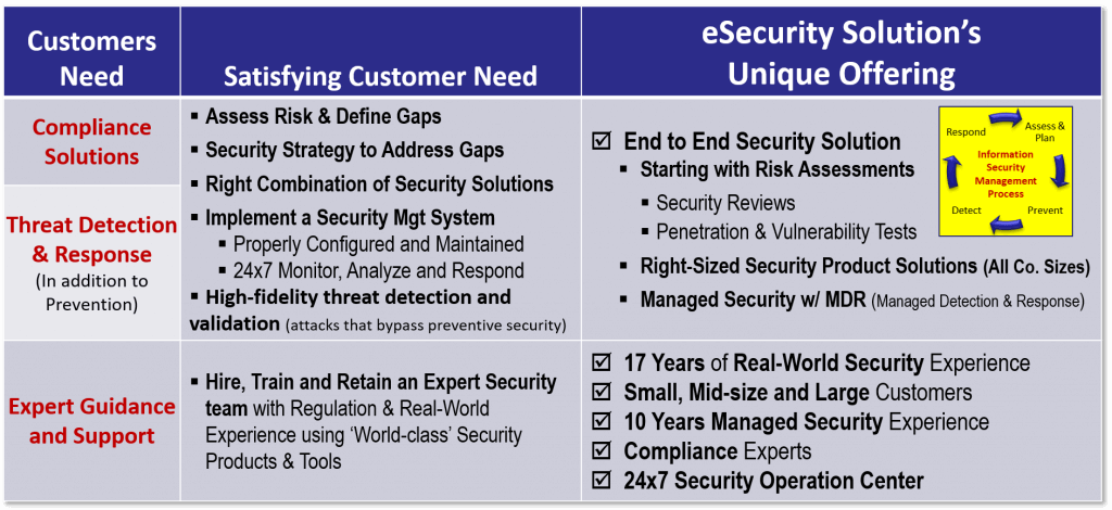 eSecurity Solutions Uniquely Solving Customer's Security Problems